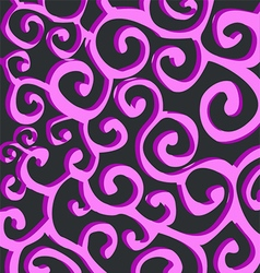 Pattern with purple stylish spiral curls on dark vector image