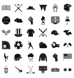 Play baseball icons set simple style vector