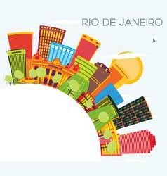 Rio de janeiro skyline with color buildings blue vector