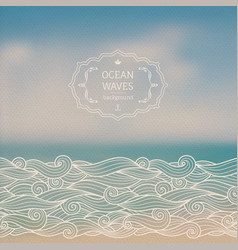 Sea landscape and sketch waves vector