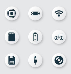 Set of 9 computer hardware icons includes aux vector