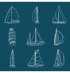 Set of 9 sailboats isolated on white vector