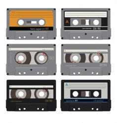 six audiocassettes vector image