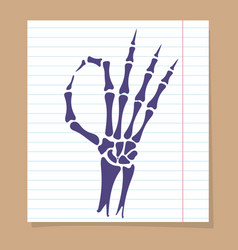 skeleton hand ok sign vector image