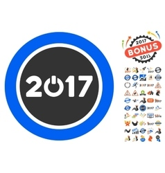 Start 2017 year round button icon with 2017 year vector