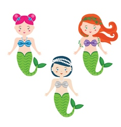 Three Mermaids in Cartoon Style vector image
