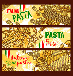 Traditional italian cuisine pasta banners vector