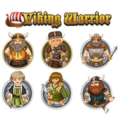 Viking warriors on round badges vector image vector image