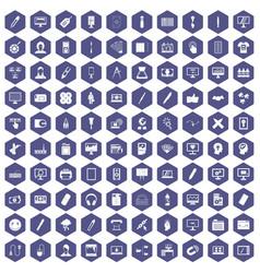 100 webdesign icons hexagon purple vector