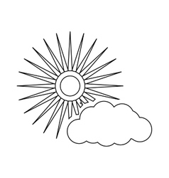 Sun and cloud weather icon outline style vector