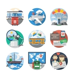 Journey and travelling color detailed icons vector