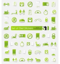 Set of diet stickers vector