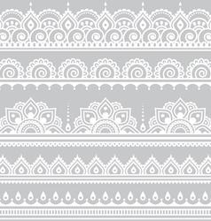Mehndi indian henna tattoo seamless white pattern vector
