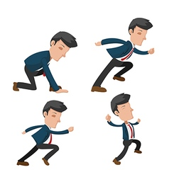 Business man cartoon action run vector