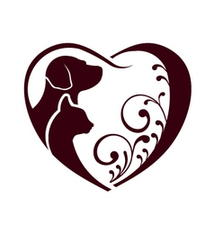 Cat dog love heart logo vector