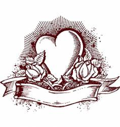heart and roses emblem vector image