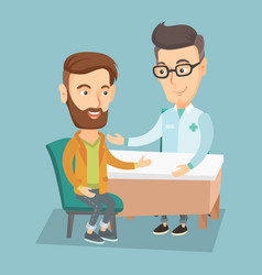 doctor consulting male patient in office vector image