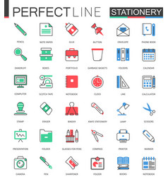 Office stationery modern flat line design vector