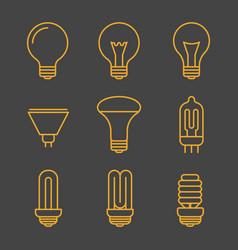 Yellow light bulbs outline icons vector