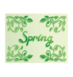 Spring word with leaves composition around vector