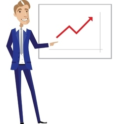 Business man pointing at chart vector