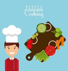 People cooking design vector