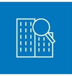 Condominium and magnifying glass line icon vector