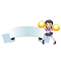 A cheerleader beside an empty signage vector image