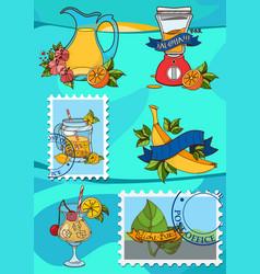 a set of for design summer bar desserts cocktails vector image vector image