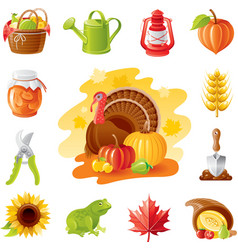 Autumn nature gardening icon set with farm and vector