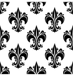 Black florid fleur-de-lis seamless pattern vector