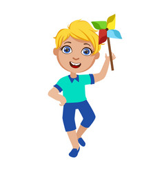 boy with toy windmill part of kids at the vector image