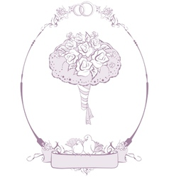 Bridal bouquet wedding accessories vector
