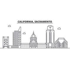 california sacramento architecture line skylin vector image