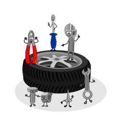 cartoon funny drawing of auto service vector image vector image