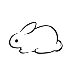 cute rabbit silhouette on white vector image vector image