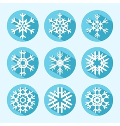 Flat Snowflake Icons vector image