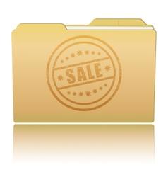 Folder with sale damaged stamp vector