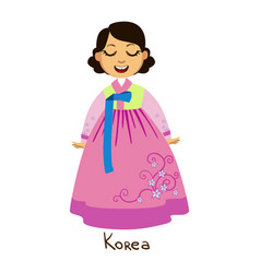 Girl in korea country national clothes wearing vector