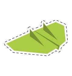 Green paper aircraft flight toy cut line vector