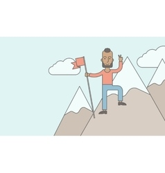 Happy caucasian standing on top of the mountain vector