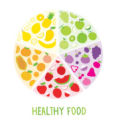 Healthy food organic diet fruit circle cartoon vec vector