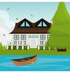 Home landscape cartoon graphic vector