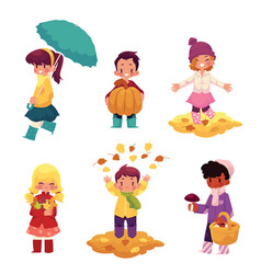 Kids children having fun in fall autumn season vector