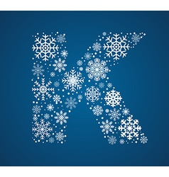 Letter k font frosty snowflakes vector