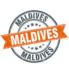 Maldives red round grunge vintage ribbon stamp vector