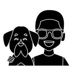 Man with dog cartoon vector