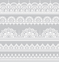 Mehndi indian henna tattoo seamless white pattern vector