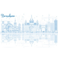 Outline Barcelona Skyline with Blue Buildings vector image vector image
