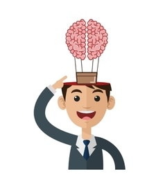 Person open head flying brain icon vector